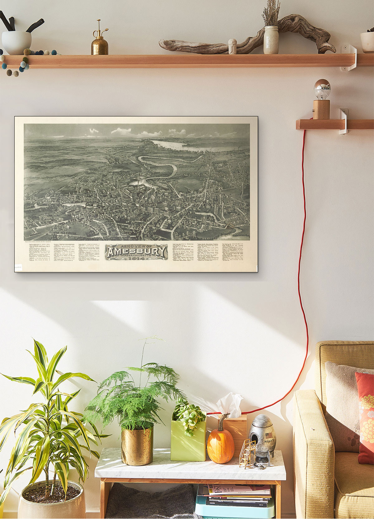 Aero View Of Amesbury Massachusetts 1914 LARGE Vintage Map