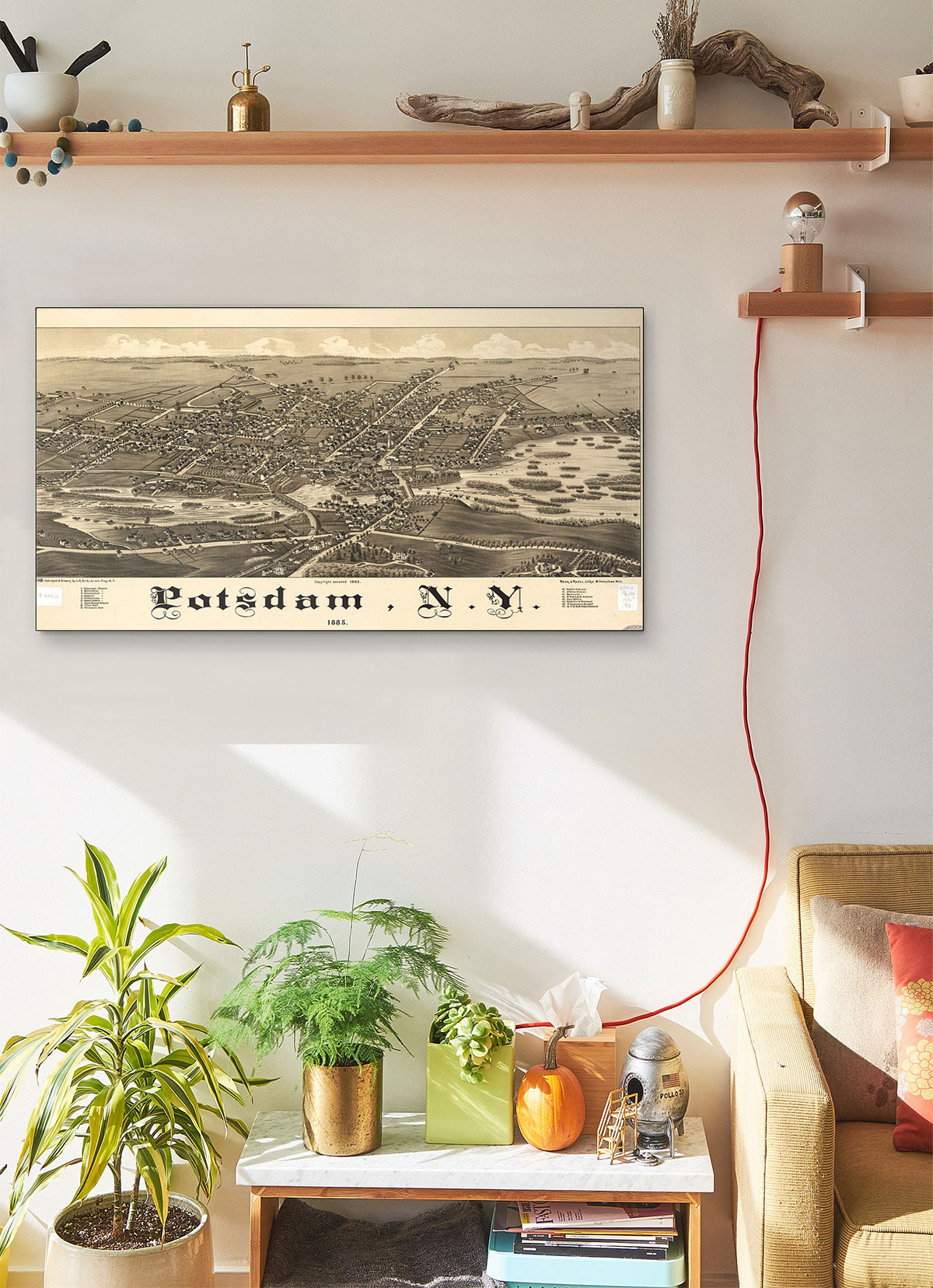 Potsdam N.y 1885 LARGE Vintage Map