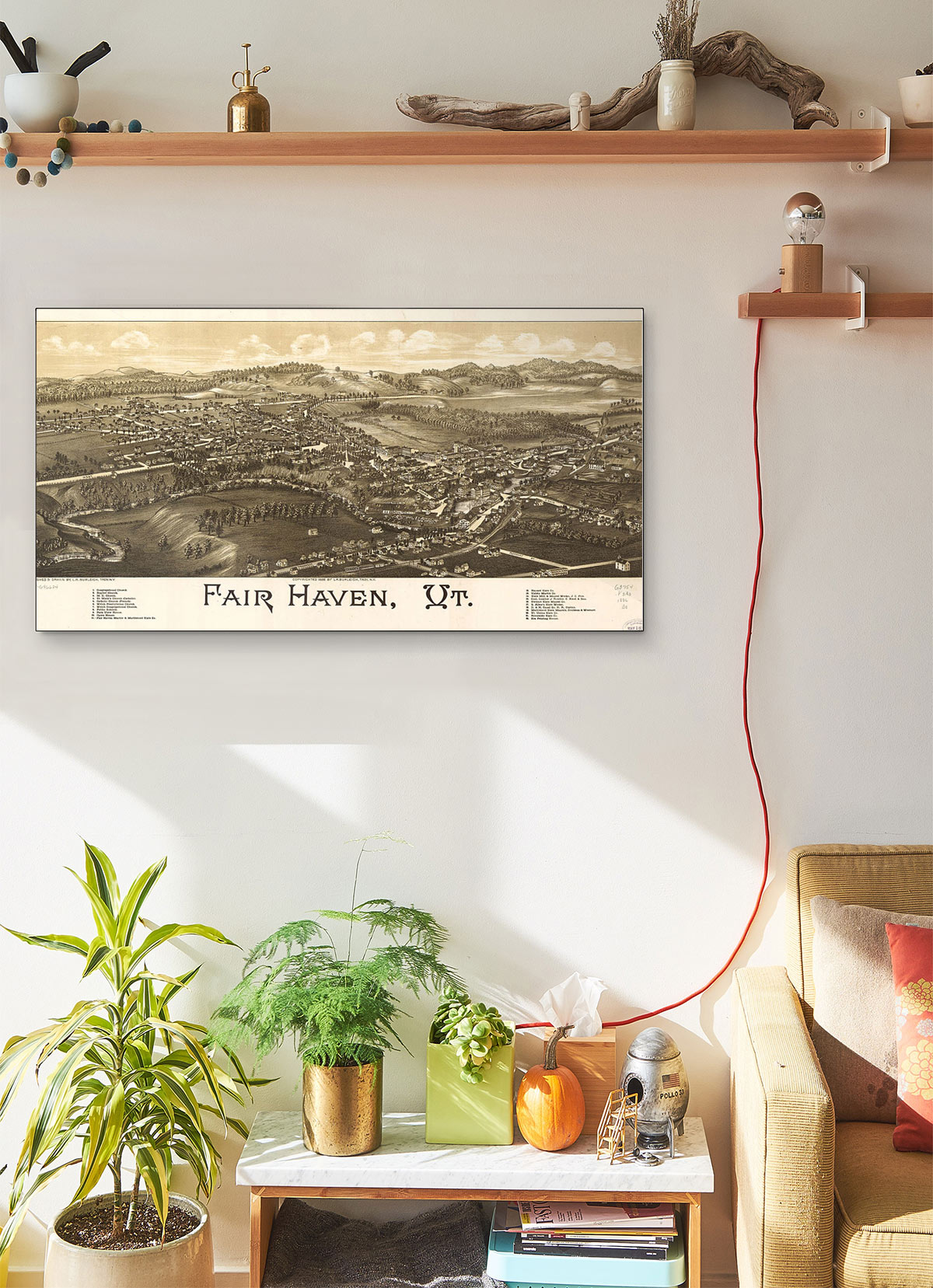 Fair Haven Vt LARGE Vintage Map