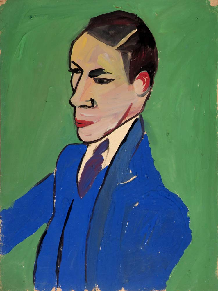 Man In A Blue Suit William H Johnson