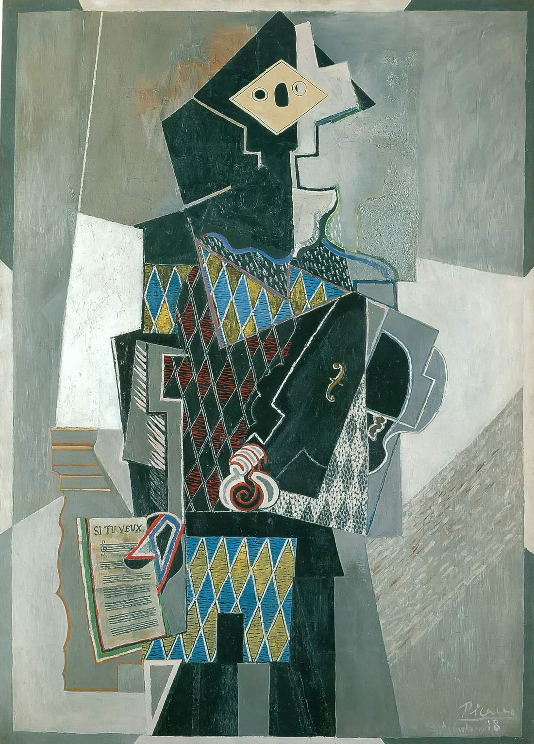 Harlequin Playing A Violin Pablo Picasso