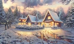 Christmas Lodge By Thomas Kinkade