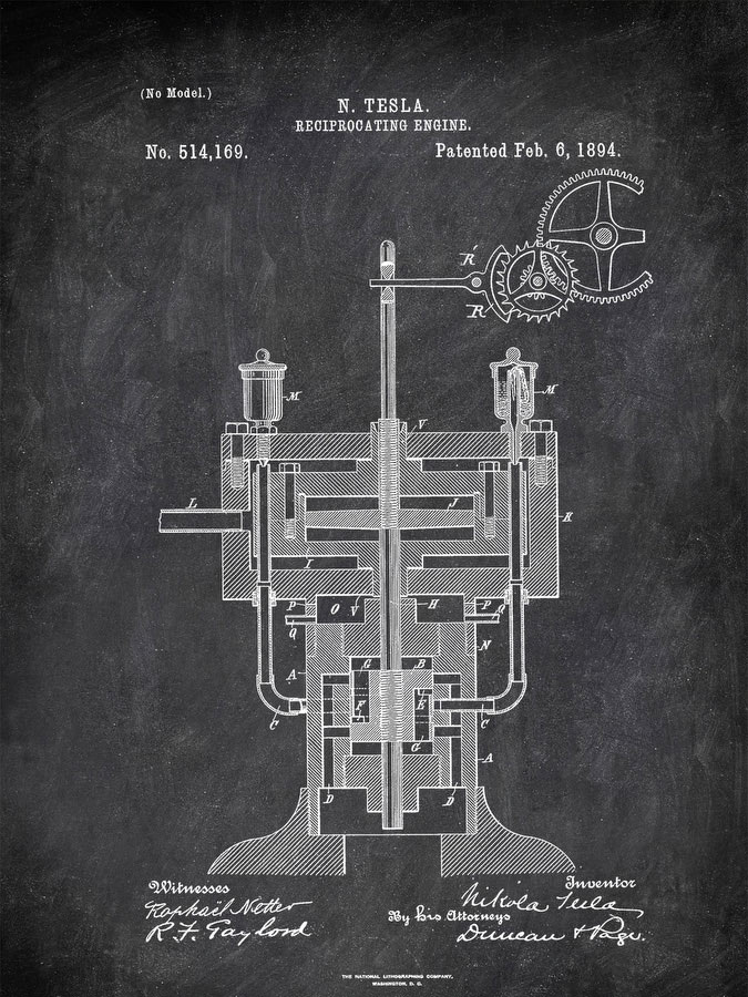 Reciprocating Engine N Tesla 1894 Technology by Patent