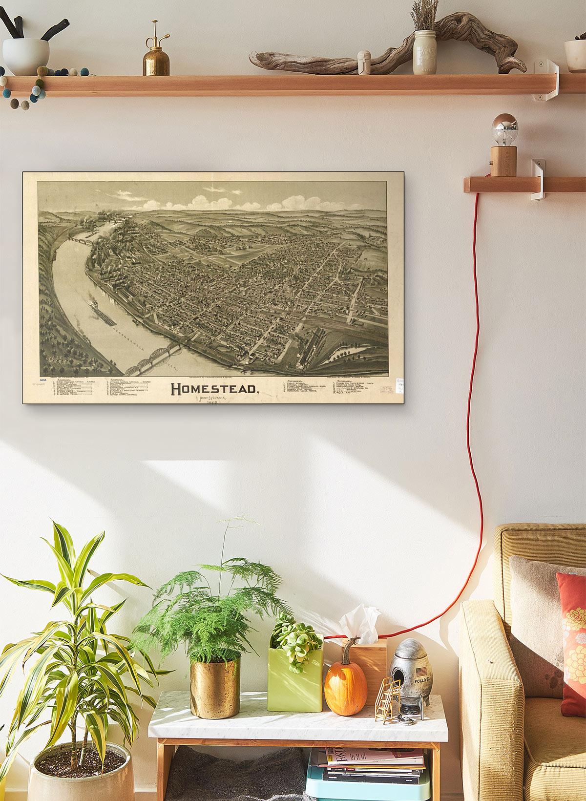 Homestead Pennsylvania 1902 LARGE Vintage Map