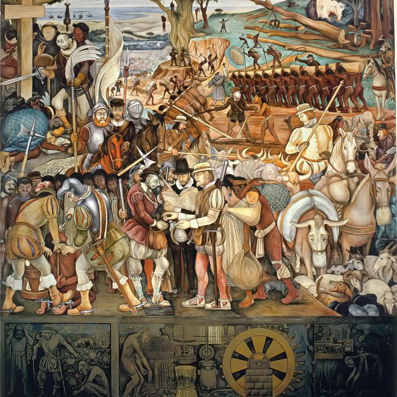 Arrival Of Hernan Cortes In Veracruz by Diego Rivera