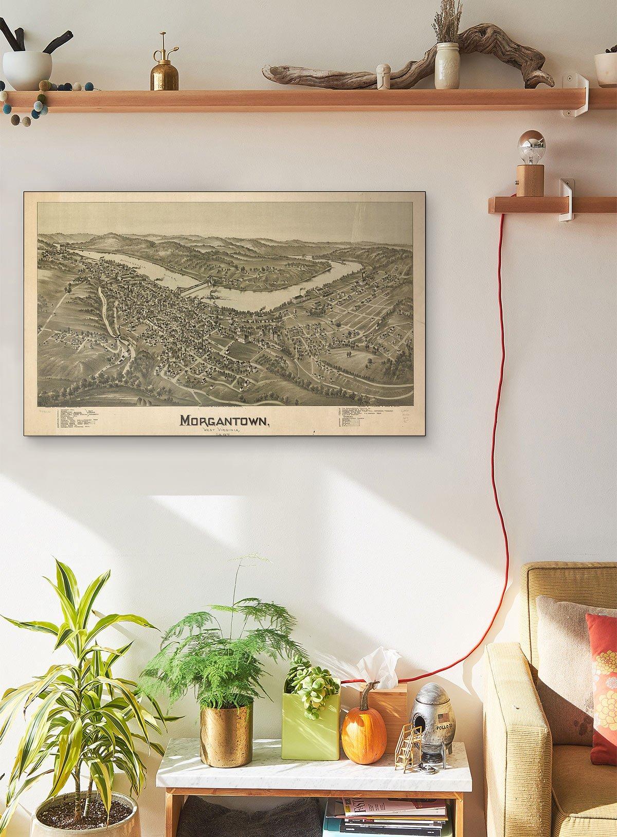 Morgantown West Virginia 1897 LARGE Vintage Map