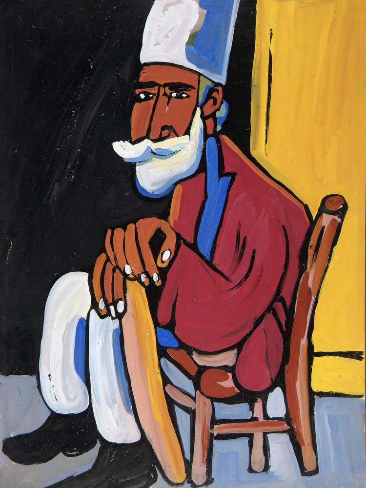 Bearded Man In Tan Chair William H Johnson