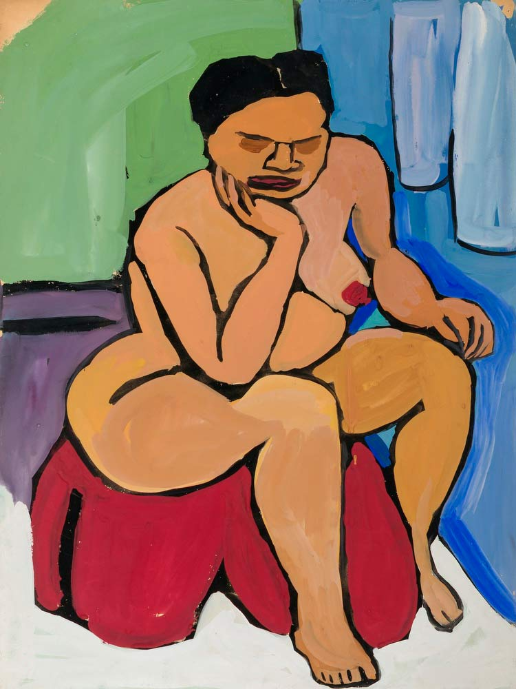 Seated Female Nude On Red Drape William H Johnson