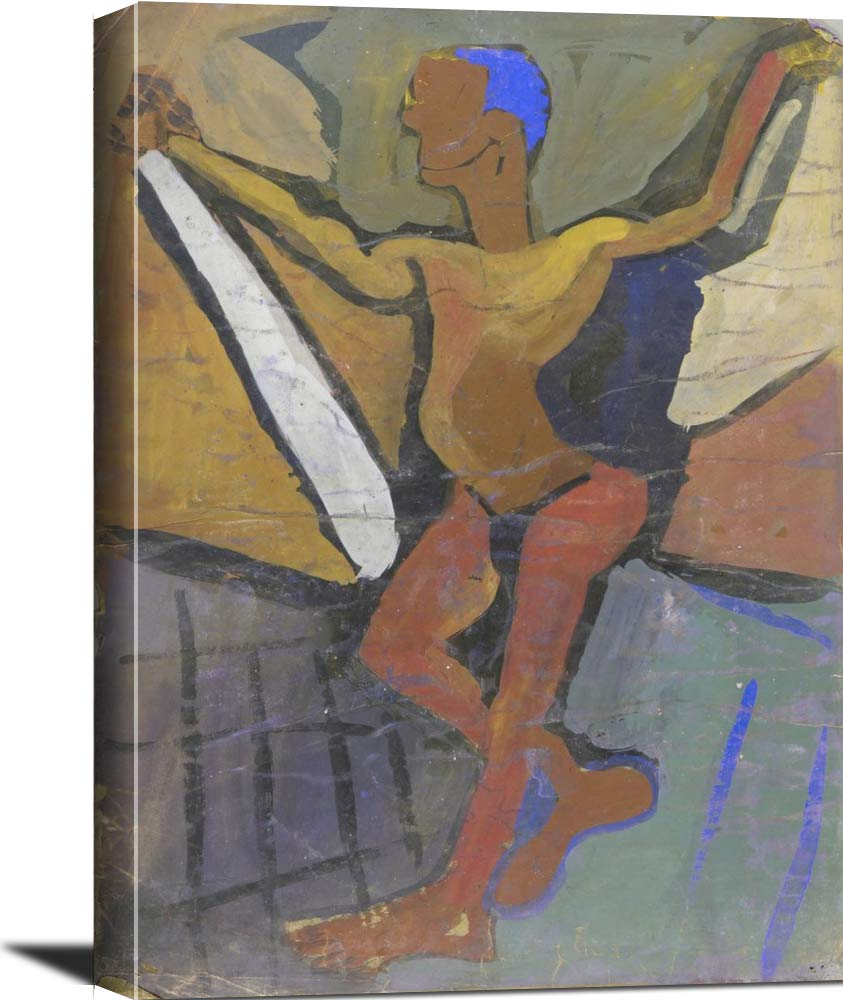 Standing Male Model With Blue Hair William H Johnson