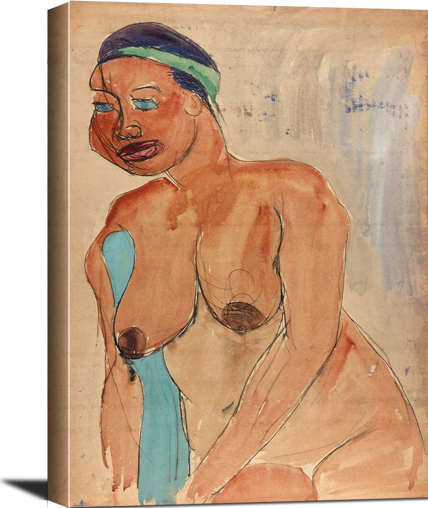 Seated Female Nude With Green Headband William H Johnson