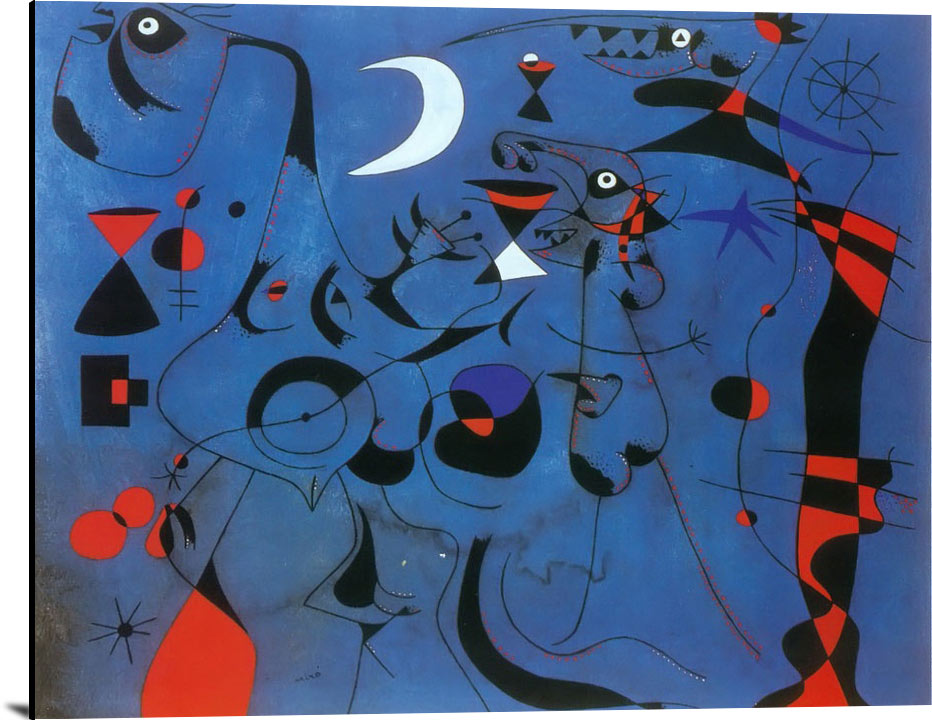 Figures At Night Guided By Thr Phosphorescent Tracks Of Snails 1940 by Joan Miro
