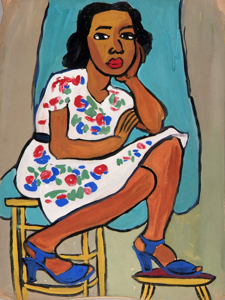 Seated Woman In Flowered Dress William H Johnson