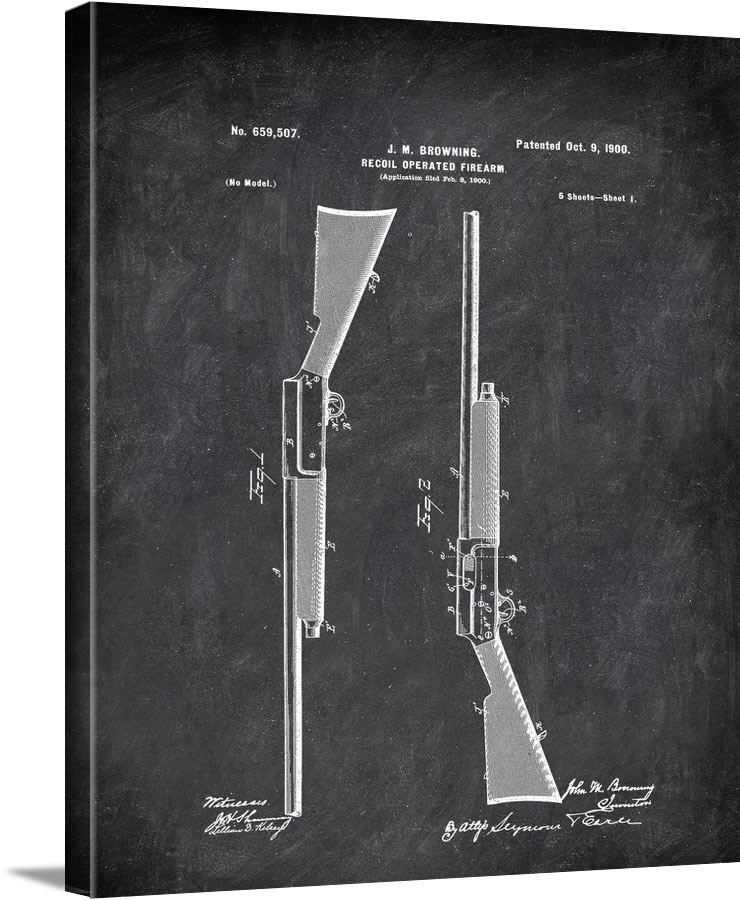 Recoil Operated Firearm Browning Military by Patent