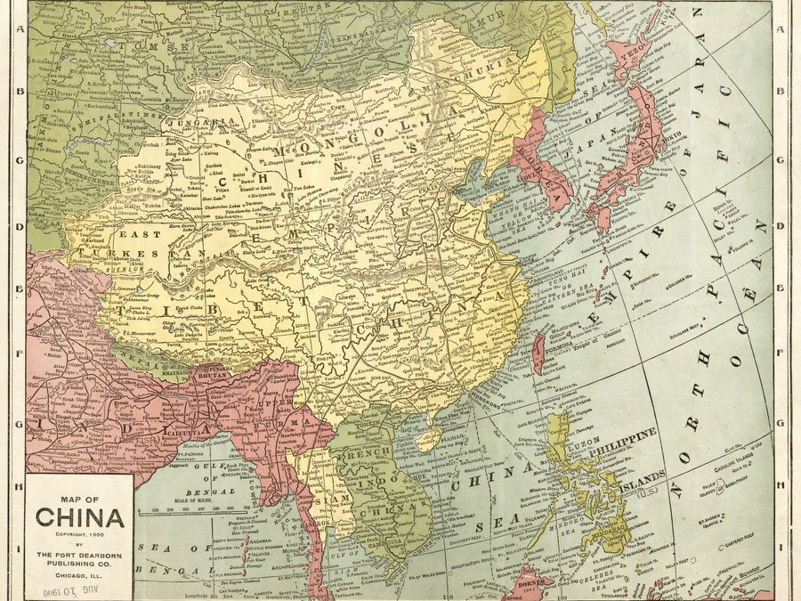 Map Of China 1900 Vintage Asia Maps Print From Print Masterpieces
