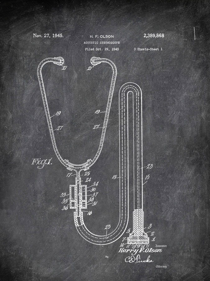 Acoustic Ststhoscope H F Olson 1943 Tools by Patent