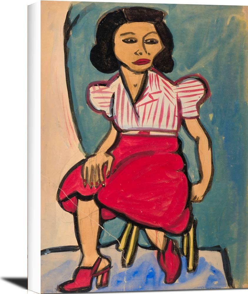 Seated Woman In Red Skirt And Striped Blouse William H Johnson