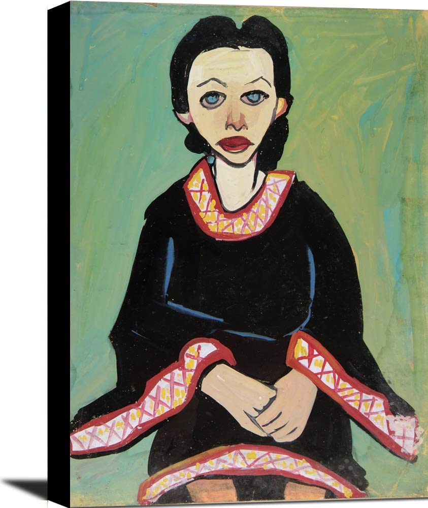 Seated Woman In Black Dress William H Johnson