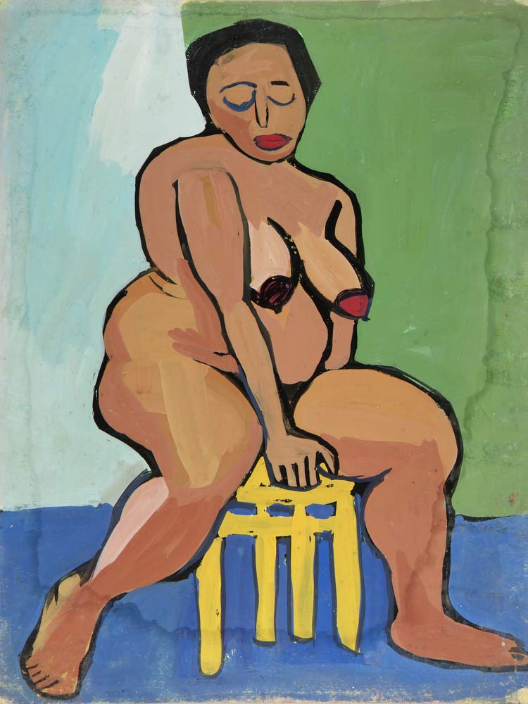 Female Nude On Yellow Stool William H Johnson