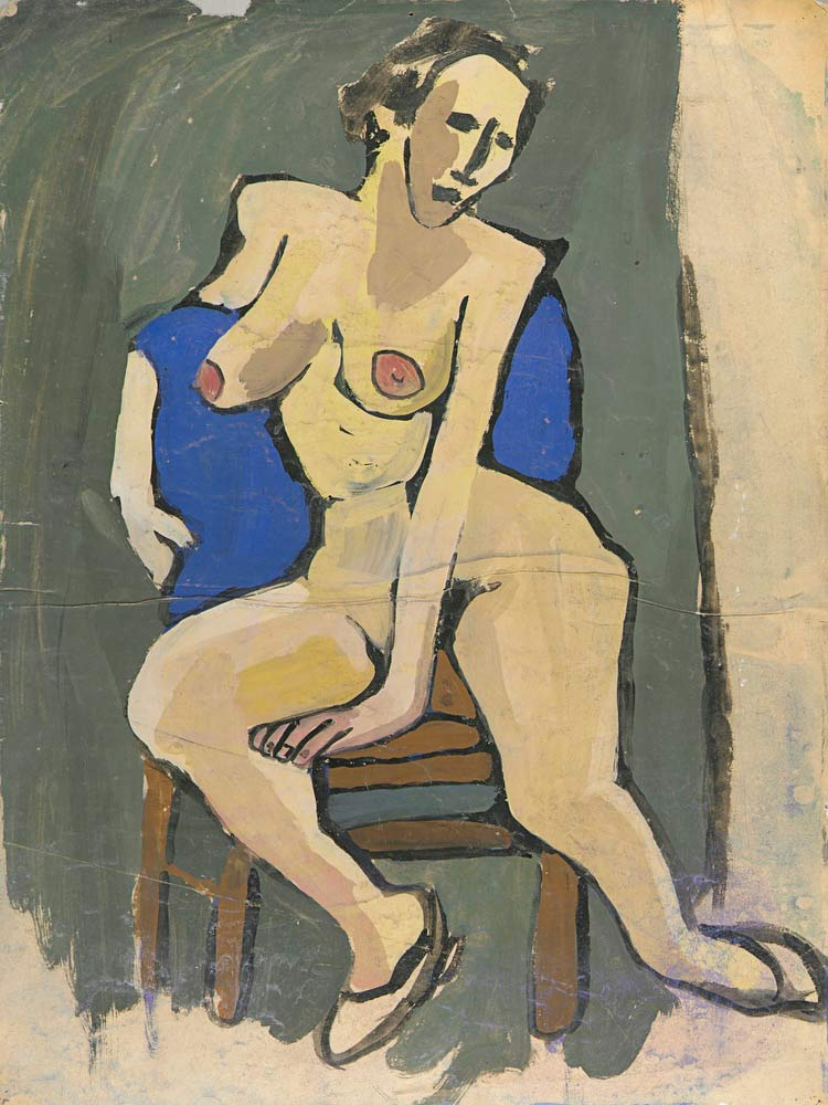 Female Nude Seated On Chair William H Johnson
