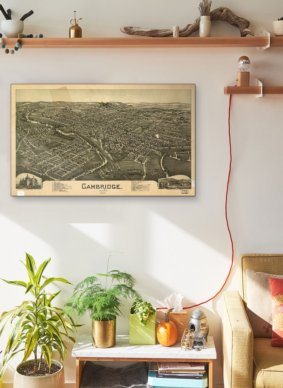 Cambridge Ohio 1899 LARGE Vintage Map