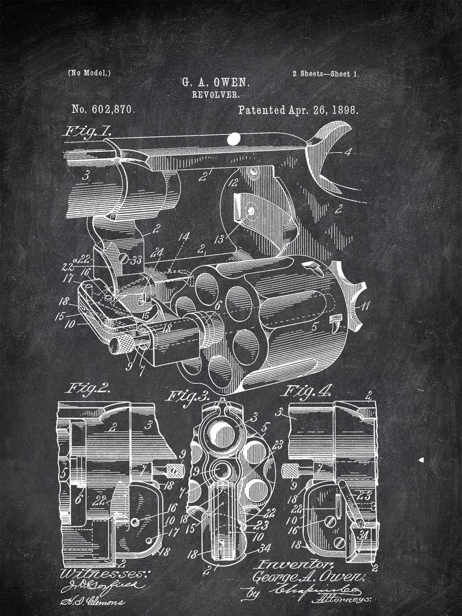 Revolver G A Owen 1898 Military by Patent