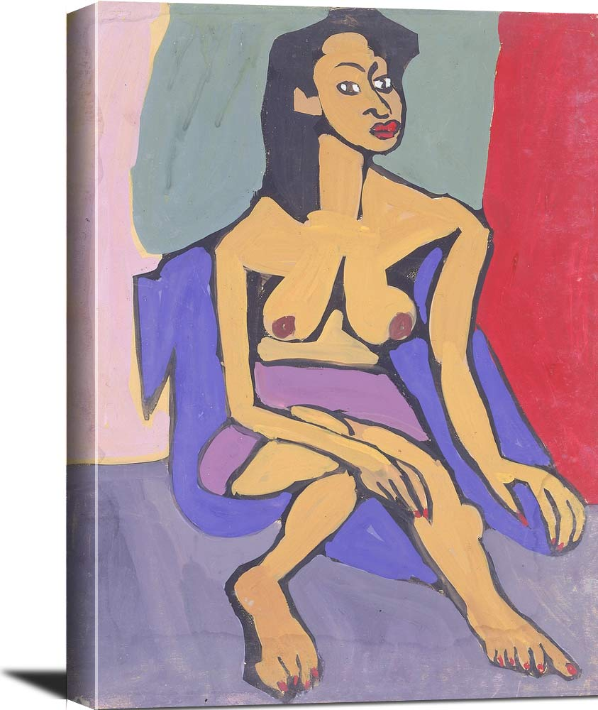 Seated Female Model With Purple Skirt William H Johnson