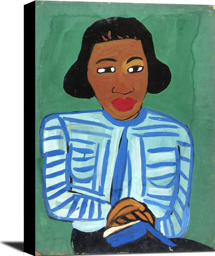 Portrait Of Woman With Blue And White Striped Blouse William H Johnson