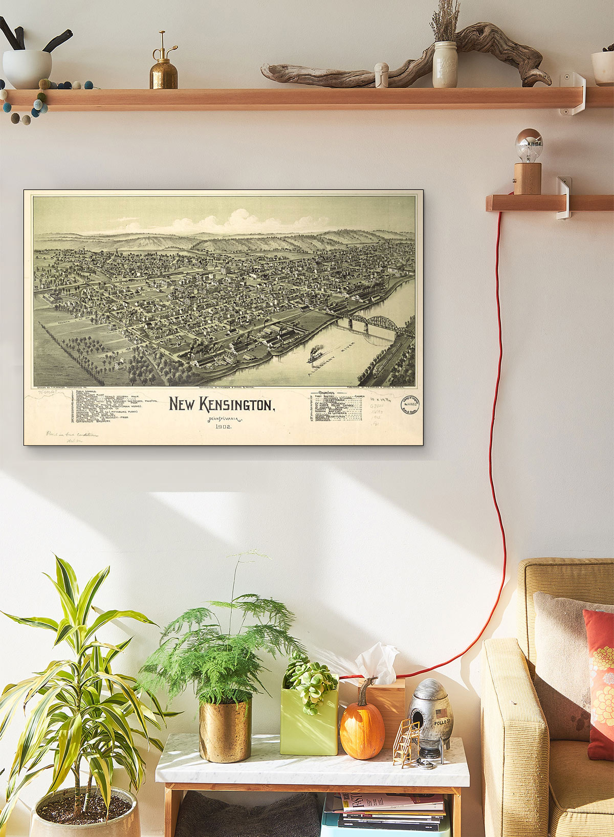 New Kensington Pennsylvania 1902 LARGE Vintage Map