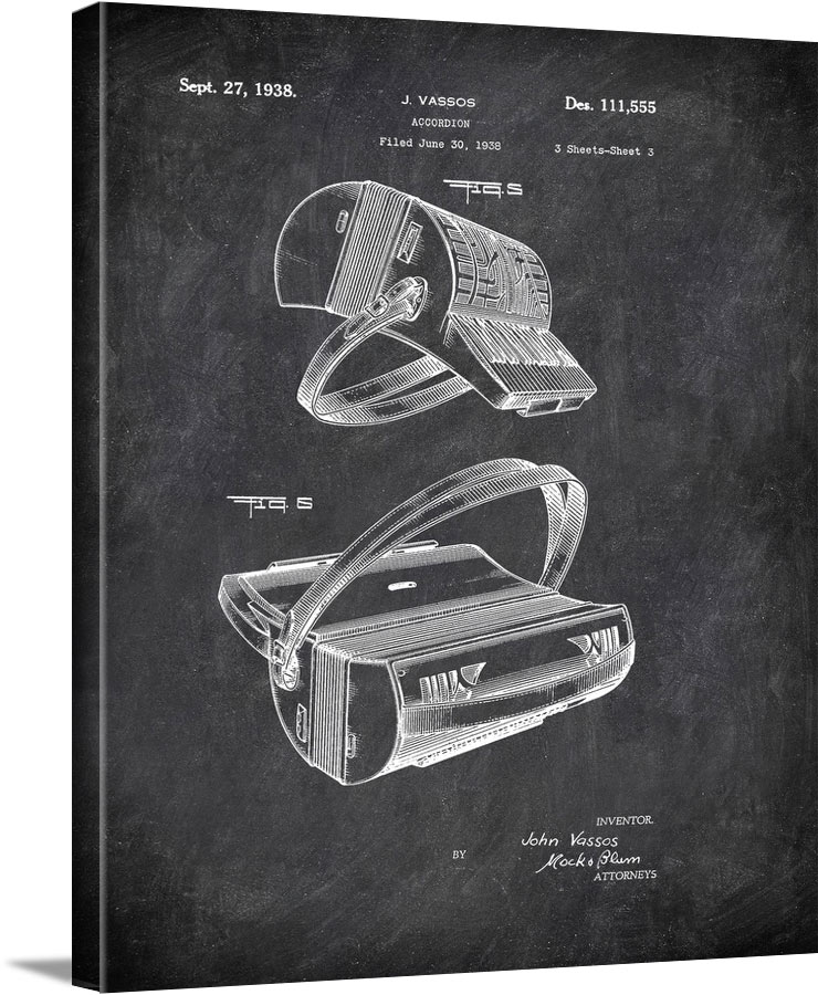 Accordion J Vassos 1938 3 Music by Patent