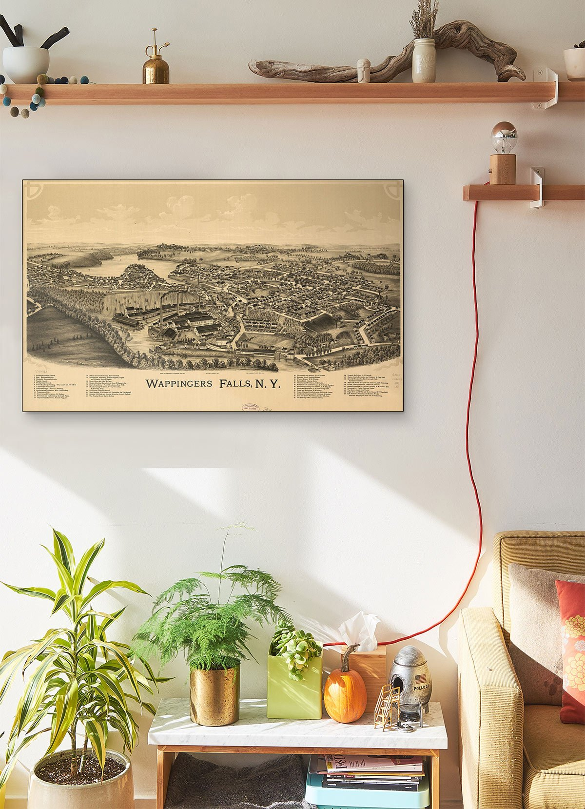 Wappingers Falls N.y LARGE Vintage Map
