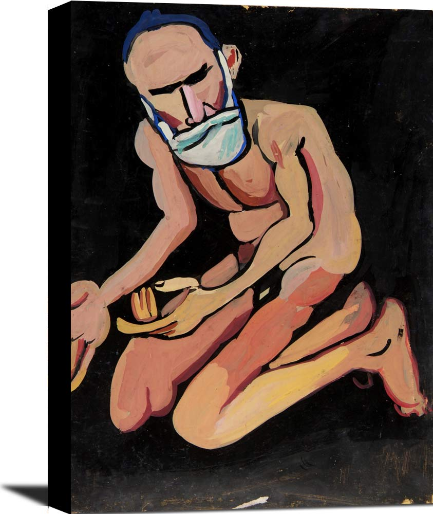 Bearded Kneeling Male Nude William H Johnson