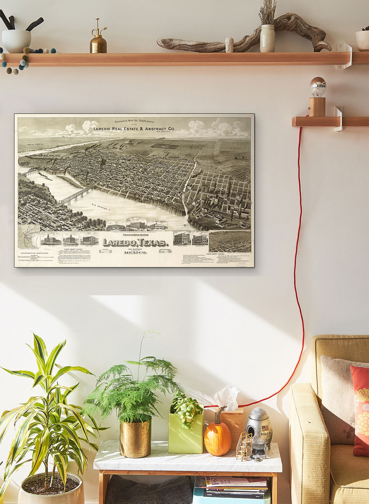 Perspective LARGE Vintage Map Of The City Of Laredo Texas The Gateway To And From Mexico LARGE Vintage Map