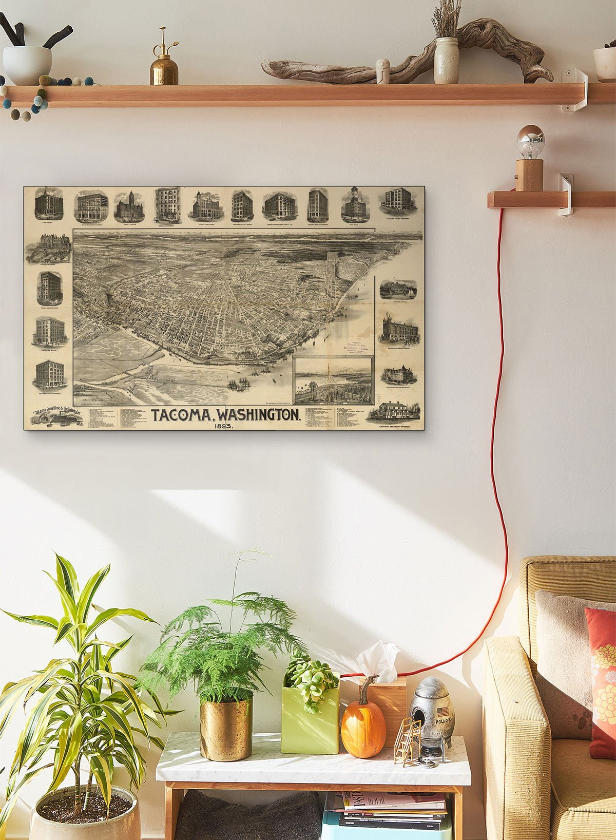 Tacoma Washington LARGE Vintage Map