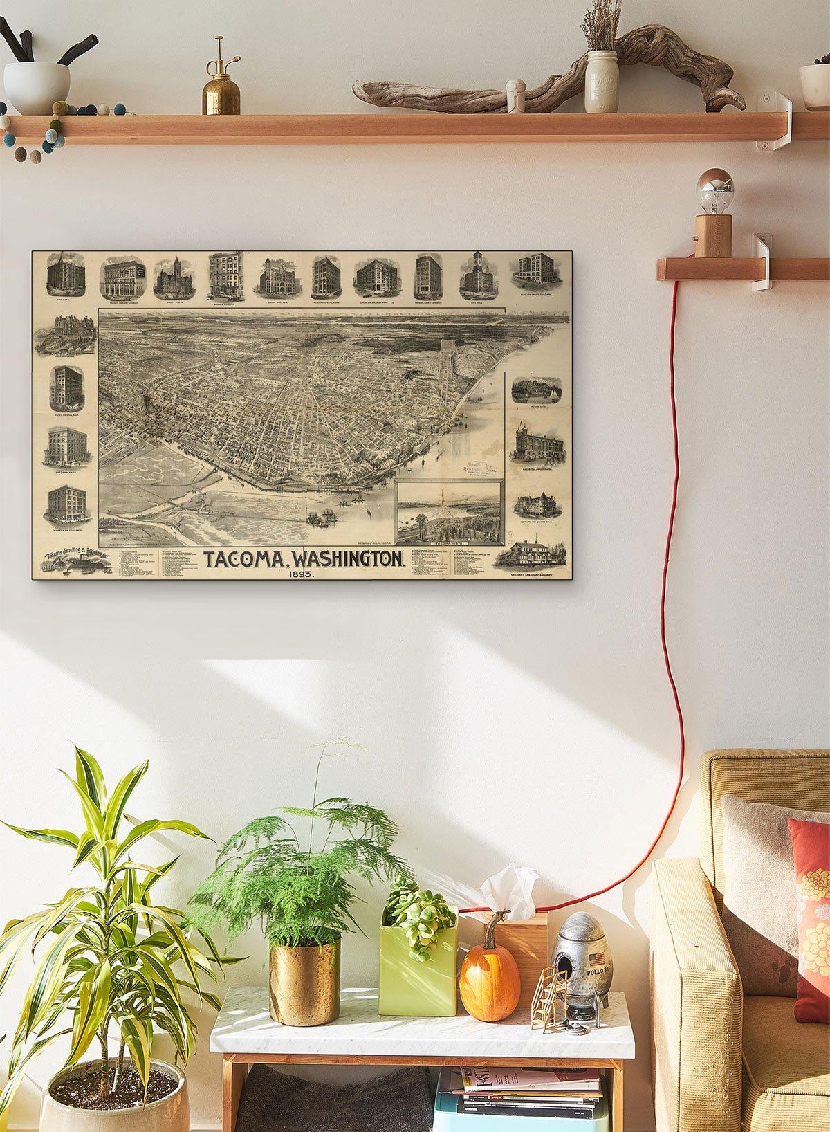 Tacoma Washington LARGE Vintage Map