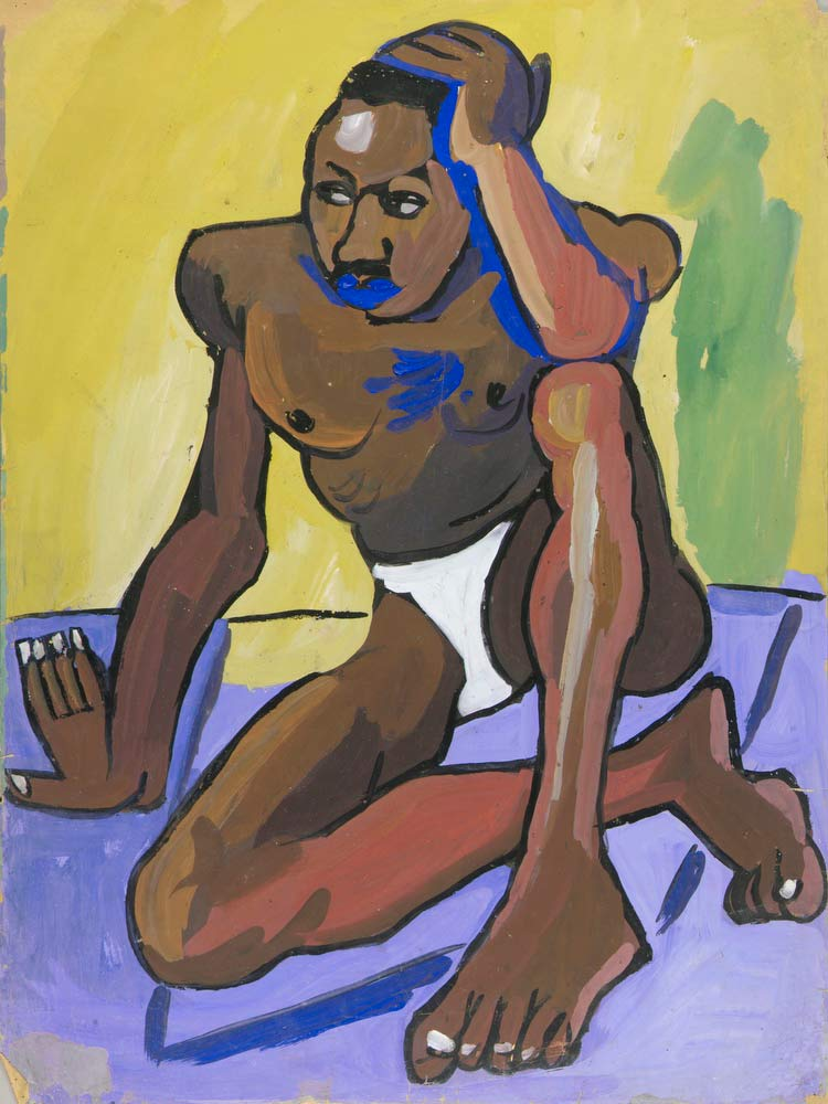 Seated Male Model With Mustache William H Johnson