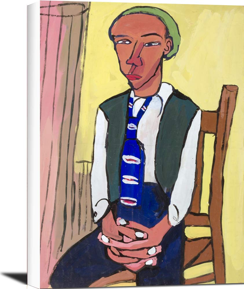 Seated Man With Green Beret William H Johnson