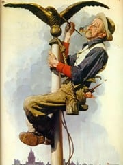 Man Painting Flagpole by Norman Rockwell