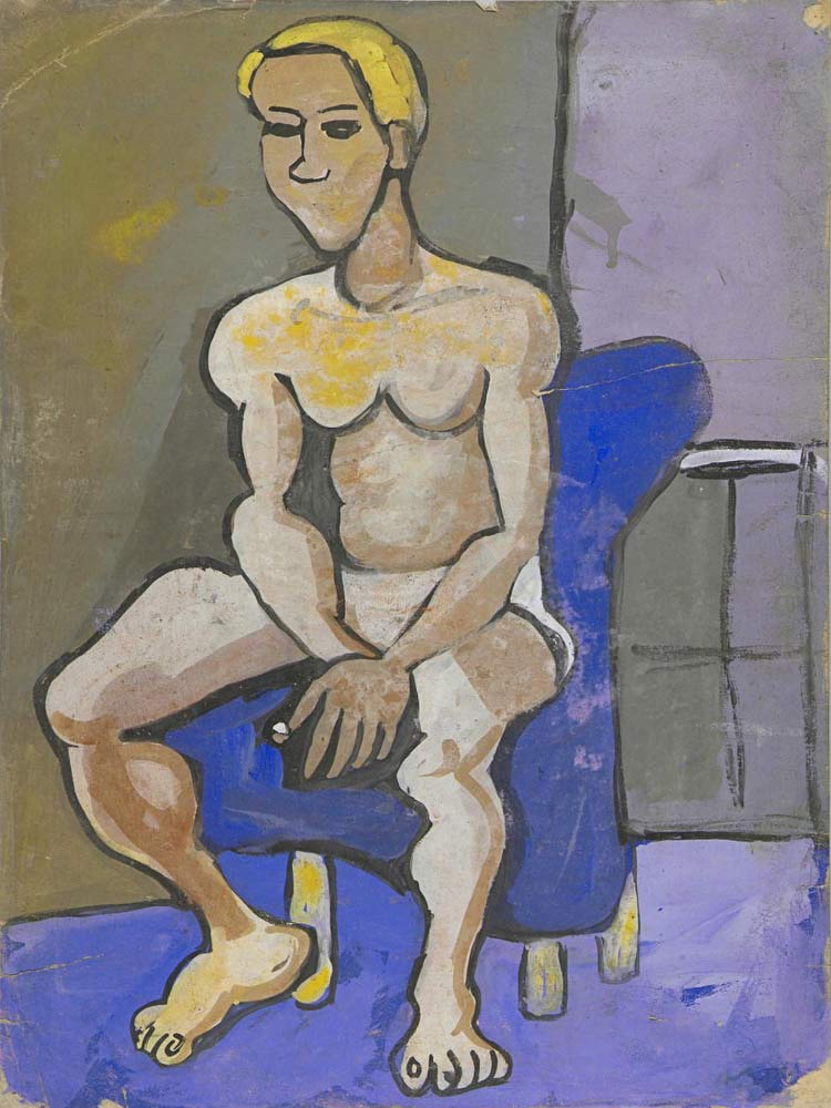 Seated Male Model With Blond Hair William H Johnson