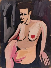 Seated Female Nude With Black Background William H Johnson