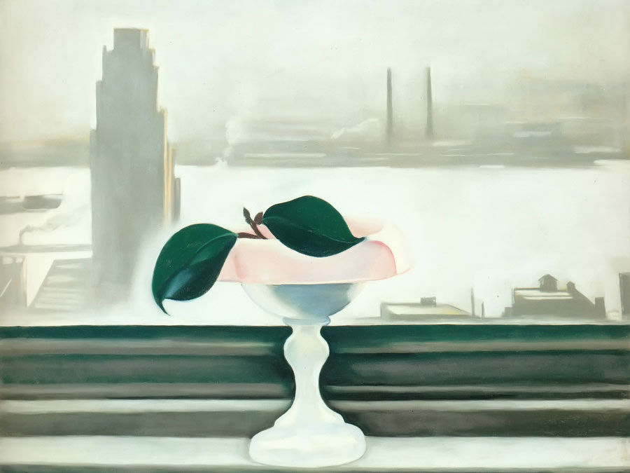 Pink Dish And Green Leaves by Georgia O Keeffe