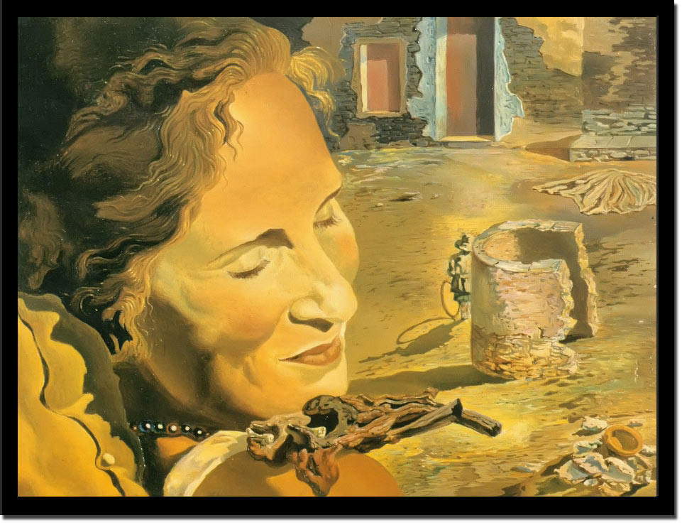 Gala With Two Lamb Chops Balanced On Her Shoulder by Dali