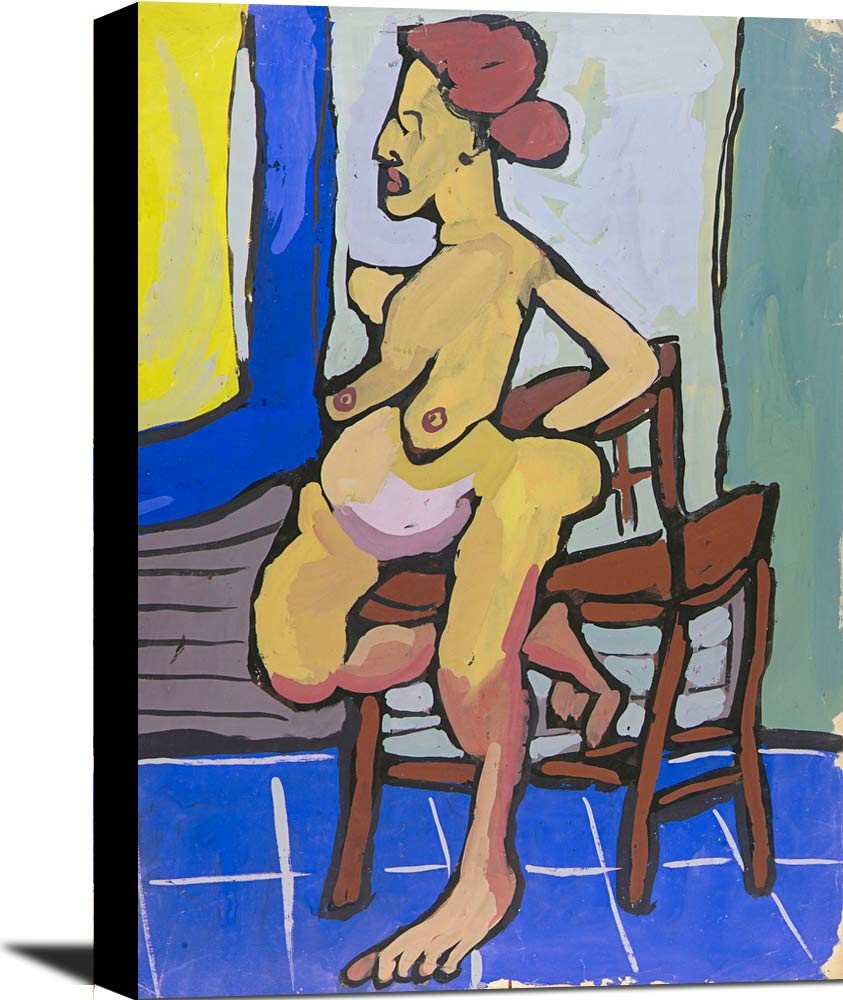 Standing Female Nude With Chair William H Johnson