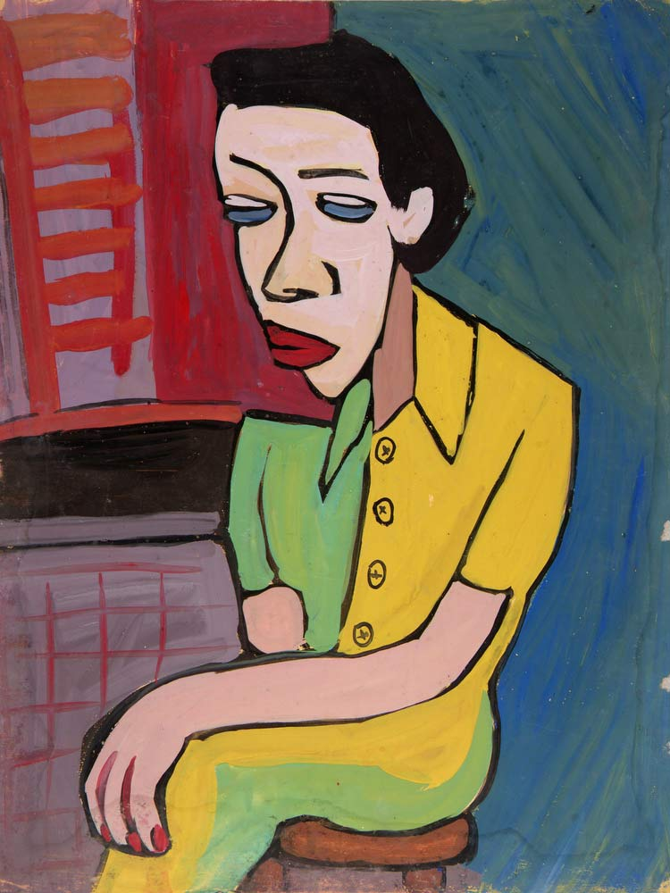 Seated Woman In Green And Yellow Dress William H Johnson