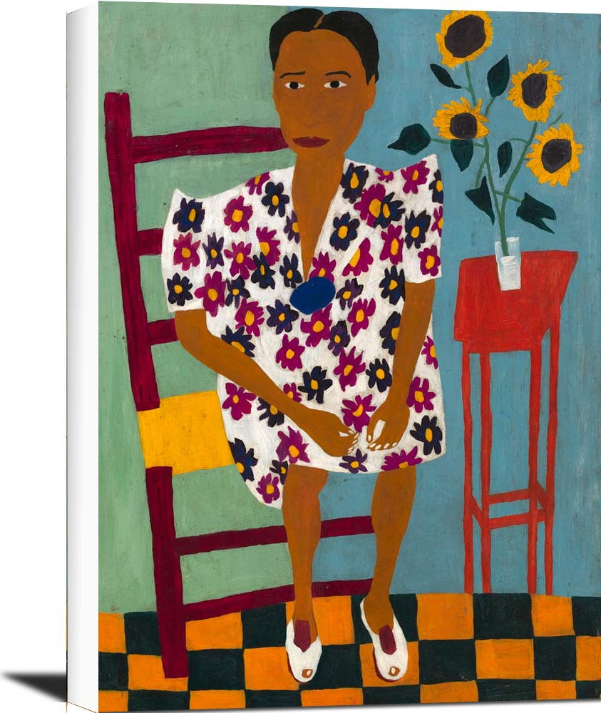 Portrait With Sunflowers William H Johnson
