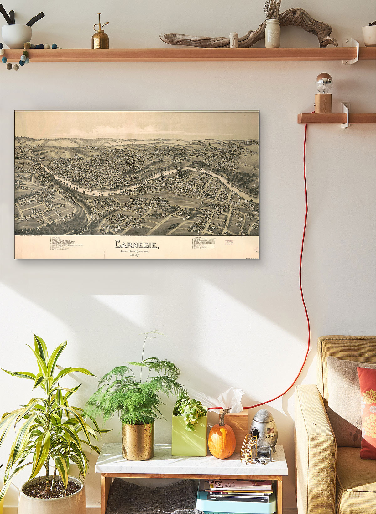Carnegie Allegheny County Pennsylvania 1897. LARGE Vintage Map