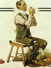 Man Threading A Needle by Norman Rockwell