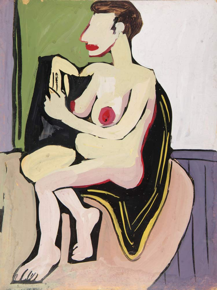Seated Female Nude With Black Drape William H Johnson