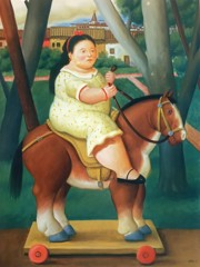 Girl On A Horse by Botero