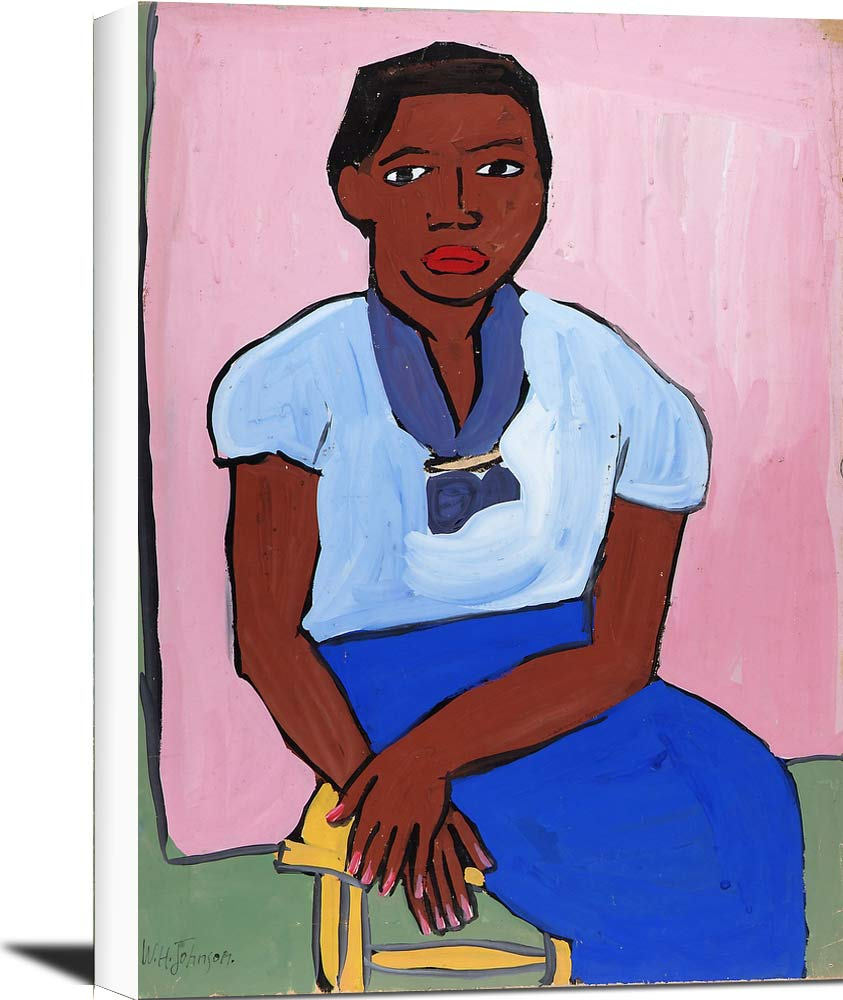 Seated Woman In Blue Dress On Yellow Stool William H Johnson