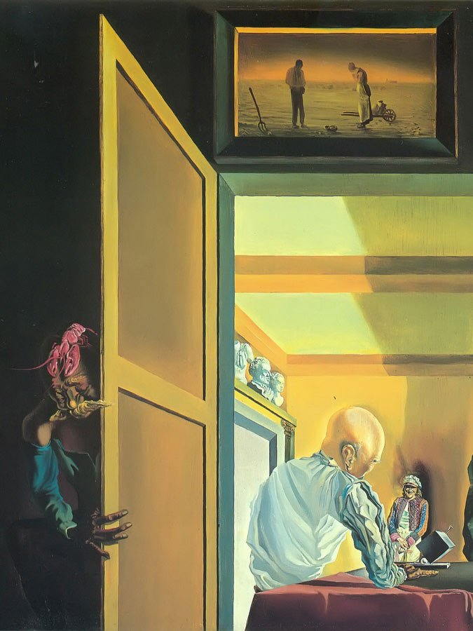 Gala And The Angelus Of Millet Before The Imminent Arrival Of Conical Anamoprhoses by Dali